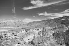 in oman  the old mountain gorge and canyon the deep cloudy  sky Stock Photos