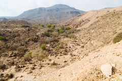 in oman  the old mountain gorge and canyon the deep cloudy  sky Royalty Free Stock Image