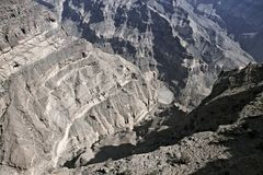 """Oman's """"Grand Canyon """" Wadi Nakhr in the Jabal Shams mountains of. Northern Oman. There is a balcony trail footpath that leads to an abandoned royalty free stock images"""