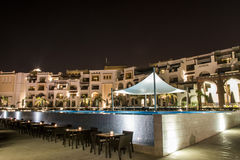 Oman, Salalah, 19.10.2016 -Amazing night lights Hotel Al Fanar Souly Bay Hotels Pool Stock Photos