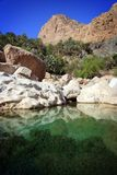 Oman: Tempting pool in Wadi Tiwi royalty free stock photo