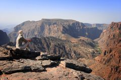 Oman: Tourist at Diana's viewpoint Stock Image