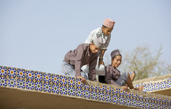 Omani boys on a roof Stock Photos