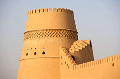 Omani Castle. A beautifully decorated tower at Al Khandaq Castle, one of several castles in the verdant oasis town of Al Buraymi in the Sultanate of Oman Stock Photo