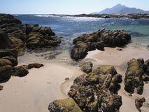 Omani coast near Hasik. Beach and rock formations near Hasik, Oman Royalty Free Stock Image