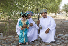 Omani family dressed for an occasion of Eid Al Fitr. Nizwa, Oman - June 26th 2017: omani family dressed for Eid al Fitr day, that is celebrated at the end of Stock Images