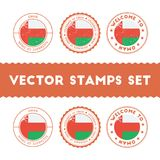 Omani flag rubber stamps set. National flags grunge stamps. Country round badges collection Royalty Free Stock Photos