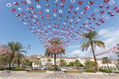 Omani flaga państowowa w Muttrah, Oman Obraz Stock
