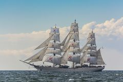 Omani fullrigger Shabab Oman II under sail Royalty Free Stock Image