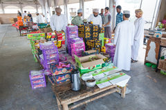 Omani men at the market in Nakhl, Oman Royalty Free Stock Photo