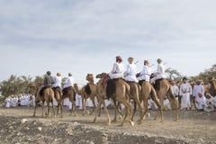 Omani mensen met hun kamelen in een platteland Stock Afbeelding