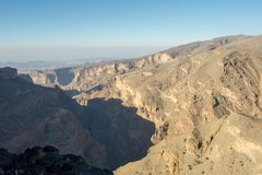 Oman Mountains at Jabal Akhdar in Al Hajar Mountains stock photo