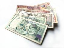 Omani rial of riyal munt op witte achtergrond stock fotografie