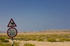 Omani Road Signs and landscape Royalty Free Stock Photography