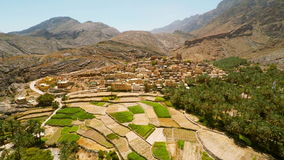 Omani village in the mountains stock footage