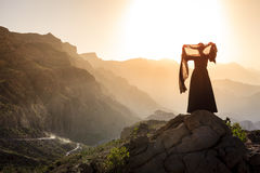 Omani woman in the mountains Stock Photo
