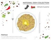 Omansk kokkonst Mellanösten nationell maträttsamling Harissa isolerade på vitt, infograpic royaltyfri illustrationer