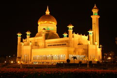 Omar Ali Saifuddin Mosque. In Brunei Darulsalam at night royalty free stock images