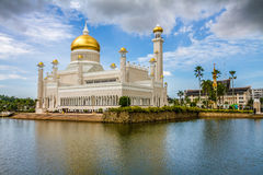 Omar Ali Saifudding Mosque-Bandar Seri Begawan. Beautiful View of Sultan Omar Ali Saifudding Mosque, Bandar Seri Begawan, Brunei, Southeast Asia Stock Photos