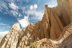 Omarama Clay cliffs near Twizel. Omarama Clay cliffs. Filming location of Lord of the Rings trilogy. South Island. New Zealand Stock Photo