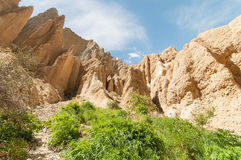 Omarama Clay cliffs near Twizel. Omarama Clay cliffs. Filming location of Lord of the Rings trilogy. South Island. New Zealand Stock Photography