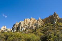 Omarama Clay Cliffs. Omarama Clay Cliffs, view this major landmark in the region comprising huge sharp pinnacles and ridges with deep, narrow ravines, Mackenzie stock image