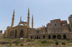 omari för albeirut lebanon moské Arkivbilder