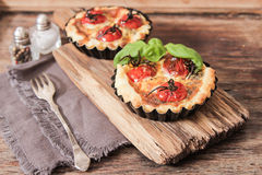 Omato quiche with wine the national France. Tomato quiche with wine the national prescription France stock photography