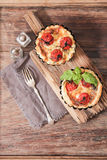Omato quiche with wine the national France. Tomato quiche with wine the national prescription France royalty free stock photography
