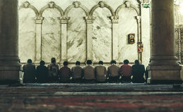 The Omayyad Mosque, people praying Royalty Free Stock Photos