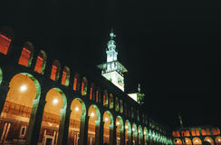 The Omayyad Mosque perfectly illuminated at night. Stock Photography