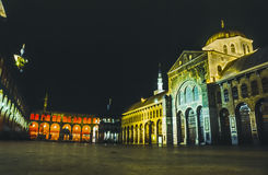 The Omayyad Mosque perfectly illuminated at night Royalty Free Stock Images