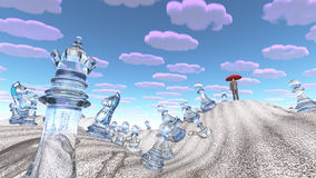 Сombinations. Combinations in surreal desert with chess figures Stock Image