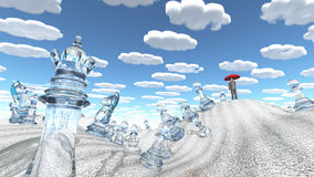 Сombinations. Surreal desert with chess figures man with red umbrella and nearly identical clouds Royalty Free Stock Image
