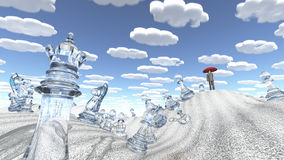 Сombinations. Surreal desert with chess figures man with red umbrella and nearly identical clouds Royalty Free Stock Photography