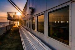 Ombord den Cape May - Lewes färjan, i den Delaware fjärden mellan Ne Arkivbild