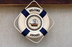 ombord välkomnande Arkivfoto