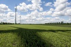 Ombra del rotore nel campo di energia eolica Immagine Stock Libera da Diritti
