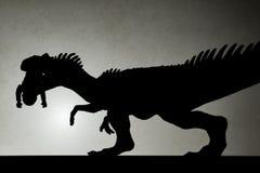 Ombra dell'allosauro che morde un corpo sulla parete Fotografie Stock