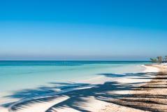 Ombra della palma sulla spiaggia di Cayo Jutias in Cuba Barca e blu Fotografia Stock