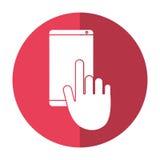 Ombra di conversazione di chiacchierata del telefono cellulare di tocco della mano royalty illustrazione gratis