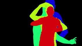 Ombra di coreografia di spettacolo del movimento del ballerino di ballo dell'uomo video d archivio
