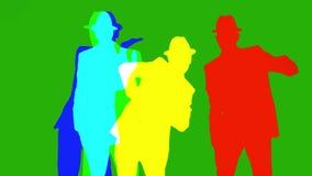 Ombra di coreografia di spettacolo del movimento del ballerino di ballo dell'uomo stock footage