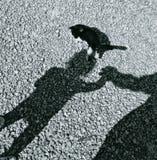 Ombra. L'ombra di un bimbo e il gatto sopra la testa nell'ombra del bimbo Royalty Free Stock Images