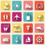 Ombra lunga delle icone di viaggio di estate Illustrazione Vettoriale