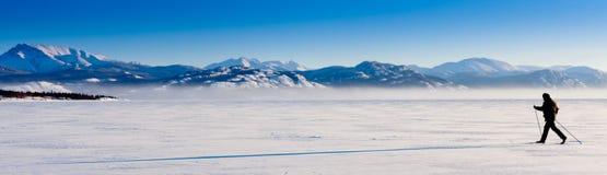 Ombra lunga dello sciatore che attraversa il paese fotografie stock