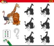 Ombrage le jeu d'activité avec des animaux de safari illustration de vecteur