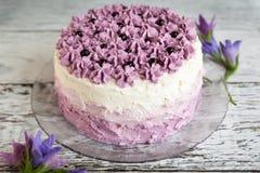 Ombre紫罗兰色蛋糕用黑醋栗 免版税库存图片
