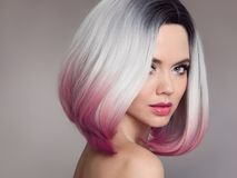 Ombre bob short hairstyle. Beautiful hair coloring woman. Fashio. N Trendy haircut. Blond model with short shiny hairstyle. Concept Coloring Hair. Beauty Salon Stock Photos