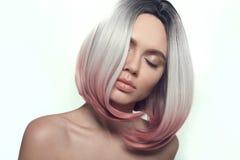 Ombre bob short hairstyle. Beautiful hair coloring woman. Fashion Trendy haircut. Blond model with short shiny hairstyle. Concept. Coloring Hair. Beauty Salon stock photos